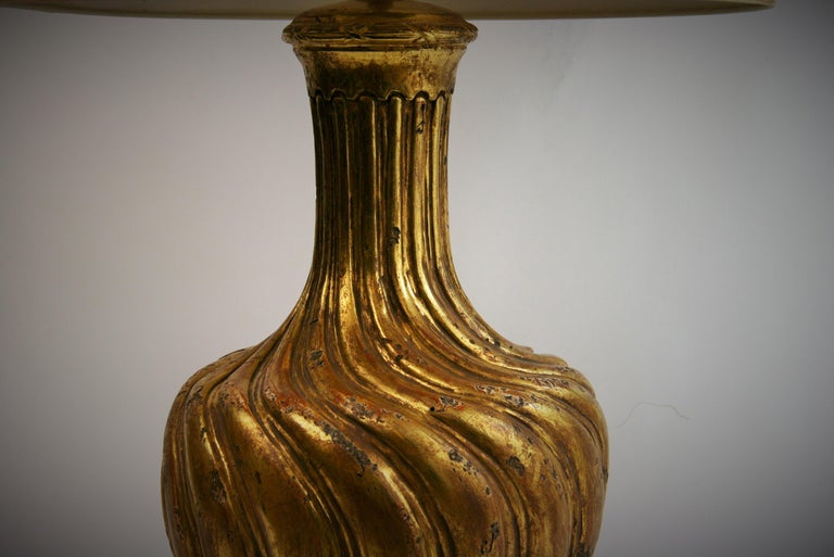 Late 20th Century Italian Gilt Carved Wood Lamp For Sale