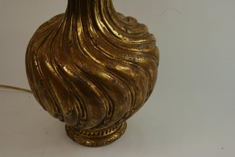 Italian Gilt Carved Wood Lamp For Sale 1