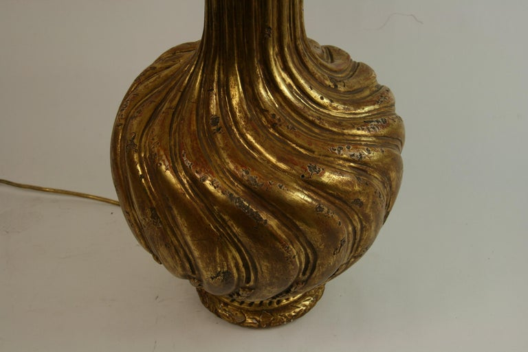 Italian Gilt Carved Wood Lamp For Sale 2