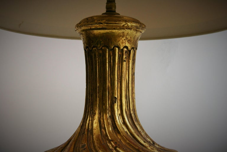 Italian Gilt Carved Wood Lamp For Sale 3