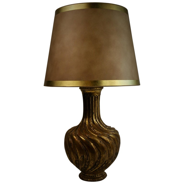 Italian Gilt Carved Wood Lamp For Sale