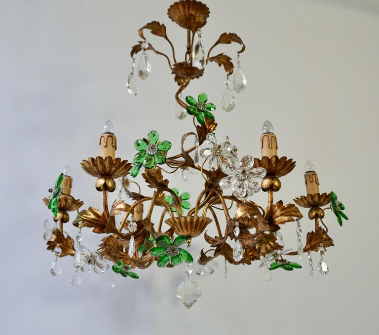 Hollywood Regency Italian Gilt Floral Design Chandelier with Green and Transparent Glass Flowers For Sale