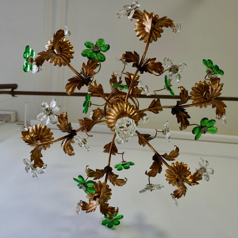 20th Century Italian Gilt Floral Design Chandelier with Green and Transparent Glass Flowers For Sale