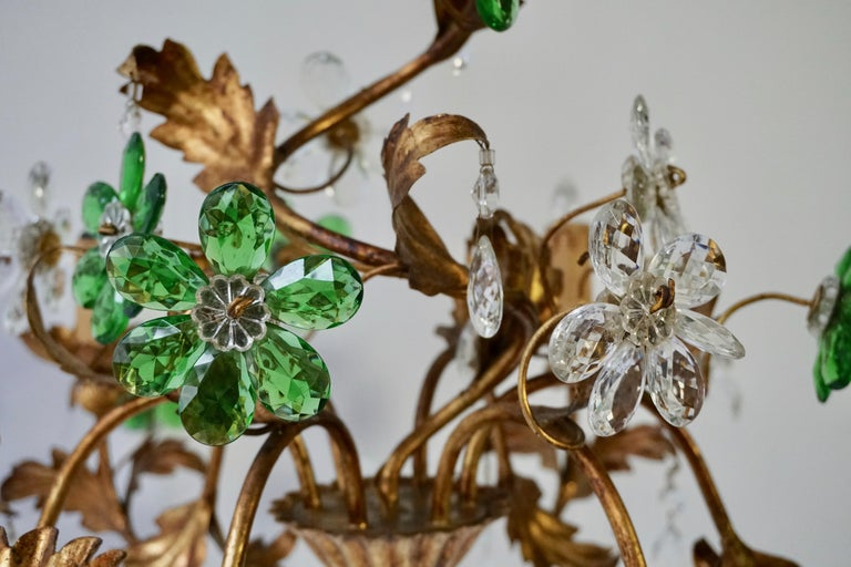 Iron Italian Gilt Floral Design Chandelier with Green and Transparent Glass Flowers For Sale