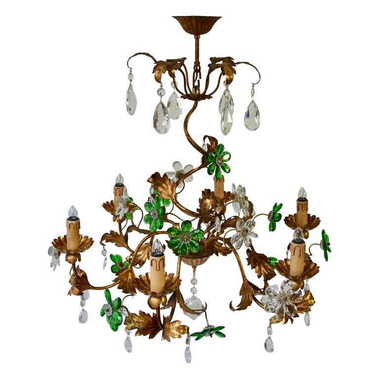 Italian Gilt Floral Design Chandelier with Green and Transparent Glass Flowers For Sale