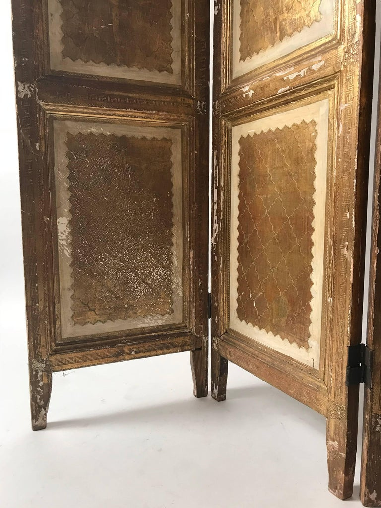 Directoire Italian Gilt Florentine Folding Screen or Room Divider For Sale