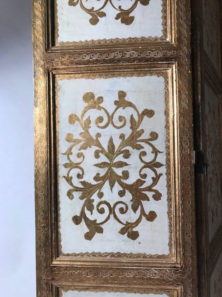19th Century Italian Gilt Florentine Folding Screen or Room Divider For Sale