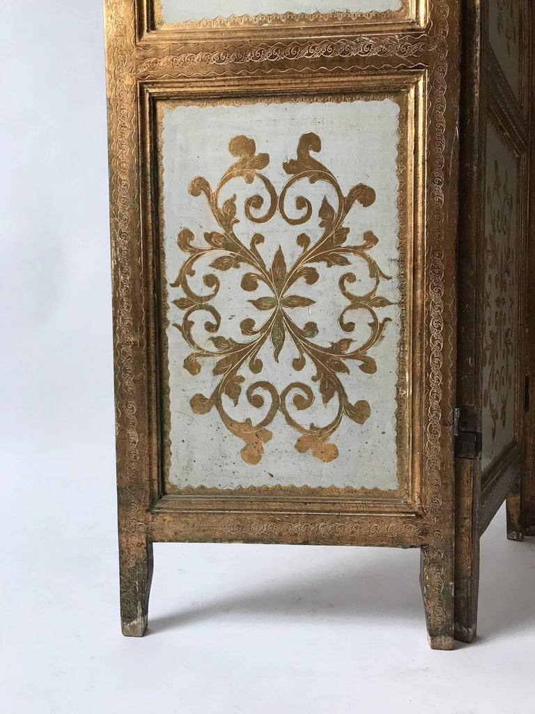 Giltwood Italian Gilt Florentine Folding Screen or Room Divider For Sale