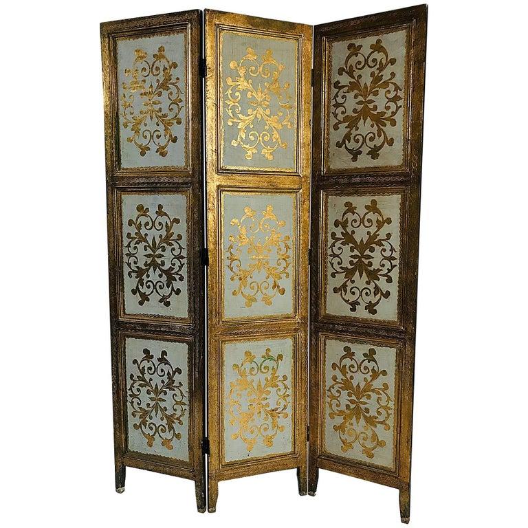 Italian Gilt Florentine Folding Screen or Room Divider For Sale