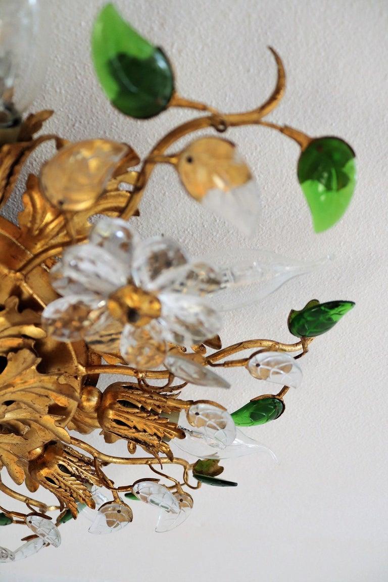 Italian Gilt Flower Flush Mount Light by Banci, 1960s For Sale 4