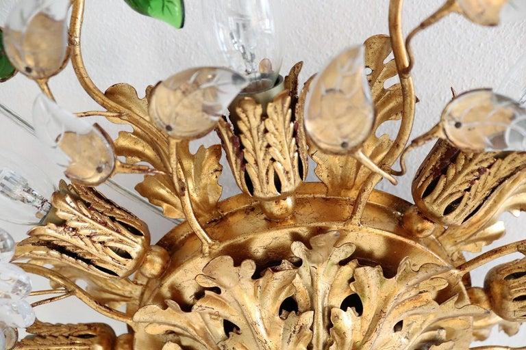 Italian Gilt Flower Flush Mount Light by Banci, 1960s For Sale 12