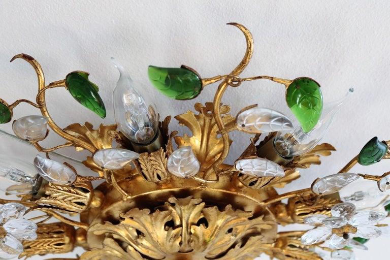 Mid-Century Modern Italian Gilt Flower Flush Mount Light by Banci, 1960s For Sale