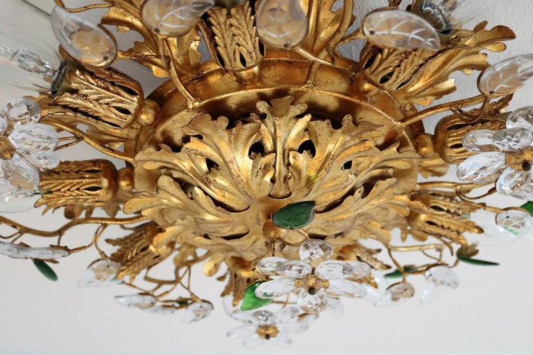 Italian Gilt Flower Flush Mount Light by Banci, 1960s In Good Condition For Sale In Clivio, Varese