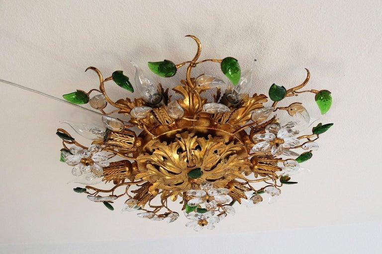 Crystal Italian Gilt Flower Flush Mount Light by Banci, 1960s For Sale