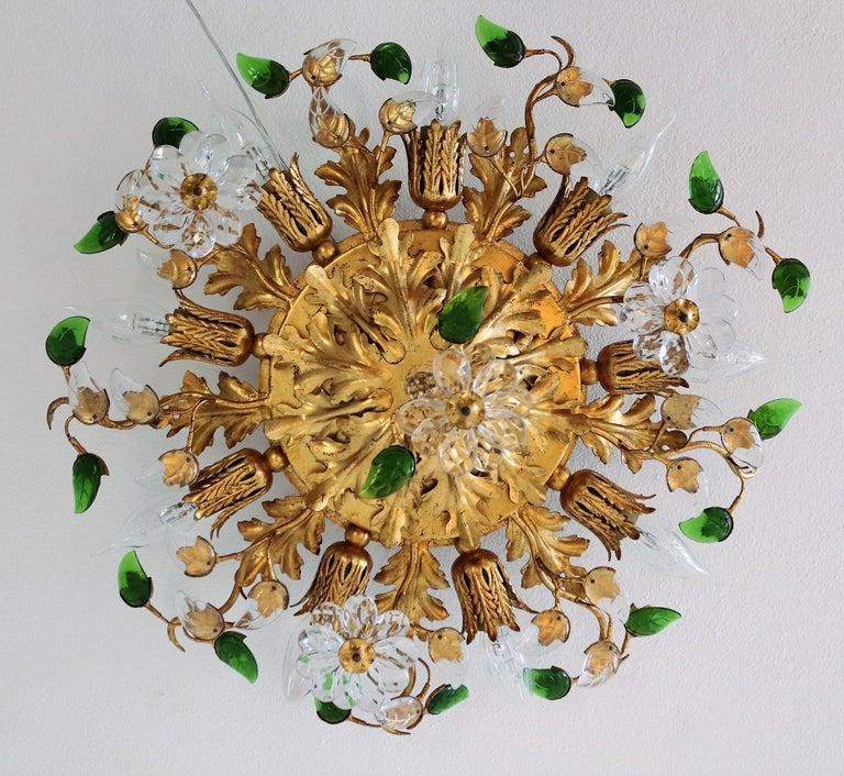 Italian Gilt Flower Flush Mount Light by Banci, 1960s For Sale 1