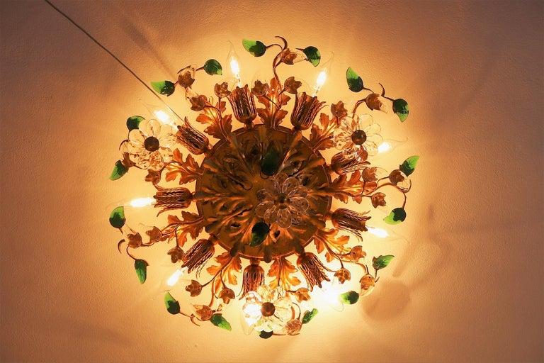 Italian Gilt Flower Flush Mount Light by Banci, 1960s For Sale 2
