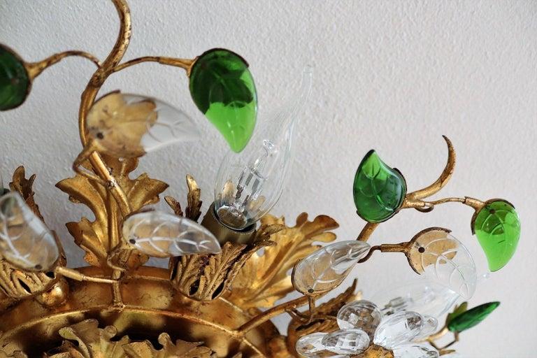 Italian Gilt Flower Flush Mount Light by Banci, 1960s For Sale 3