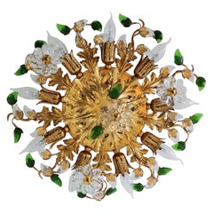 Italian Gilt Flower Flush Mount Light by Banci, 1960s