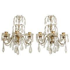 Italian Gilt Iron and Crystal Candle Sconces