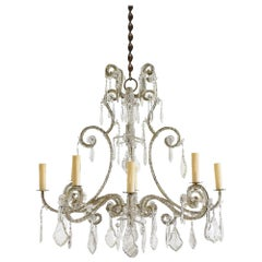Italian Gilt Iron and Glass Rococo Style 8-Light Chandelier, Early 20th Century