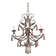 Italian Gilt Iron and Wood Beaded Chandelier