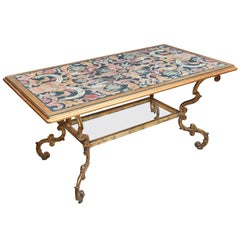 Italian Gilt-Iron Centre Table with Painted Imitation Scagliola Top, circa 1880