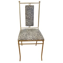 Italian Gilt Iron Chair with Leopard Print Hide Upholstery