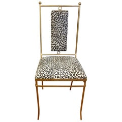 Italian Gilt Iron Chair with Leopard Print Hide Upholstery, Gio Ponti Inspired