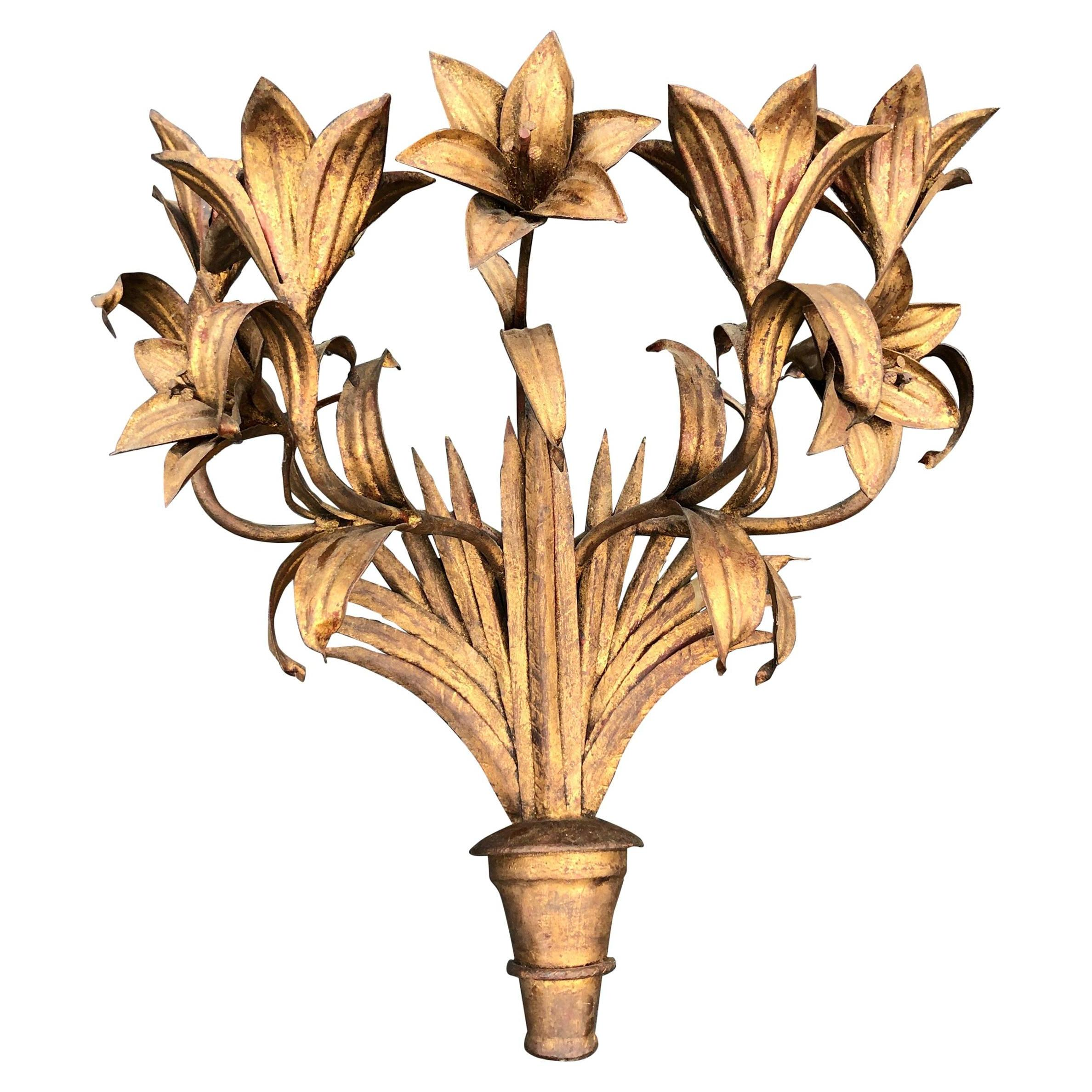 Large Italian Gilt Iron Floral Wall Sconce