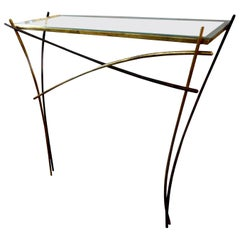 Italian Gilt Iron Minimalist Console After Gio Ponti