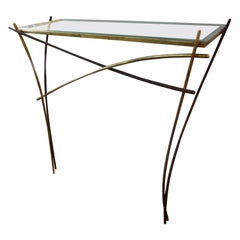 Italian Gilt Iron Minimalist Console Attributed to Pier Luigi Colli