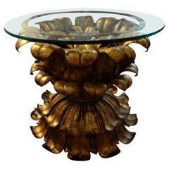 Italian Gilt Iron Plume Table with Glass Top