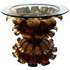 Italian Gilt Iron Plume Table with Glass Top