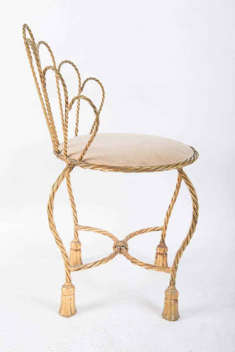 Wrought Iron Italian Gilt Iron Rope & Tassel Boudoir Chair For Sale