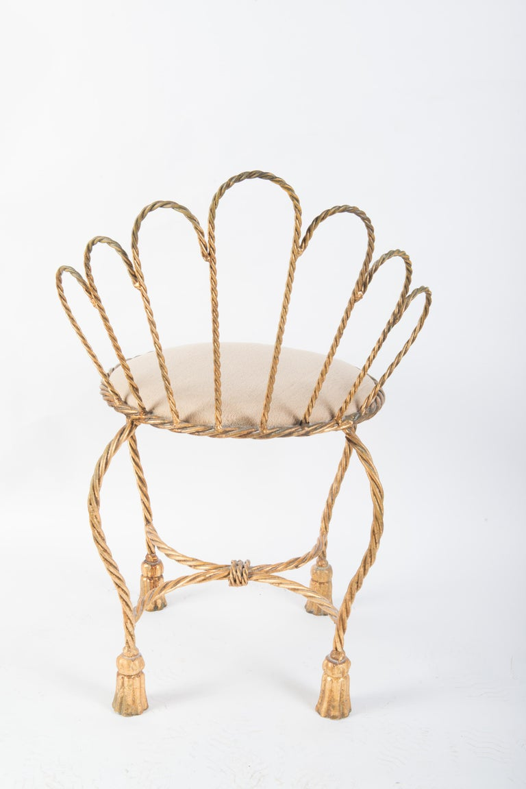 Italian Gilt Iron Rope & Tassel Boudoir Chair For Sale 1