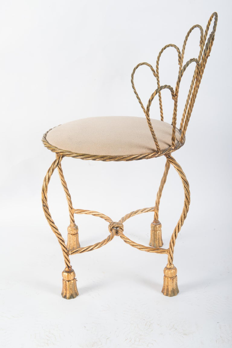 Italian Gilt Iron Rope & Tassel Boudoir Chair For Sale 2