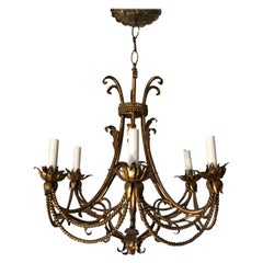 Italian Gilt Iron Tassle Chandelier