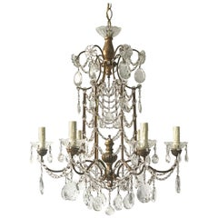 Italian Gilt Iron and Macaroni Crystal Beaded Chandelier