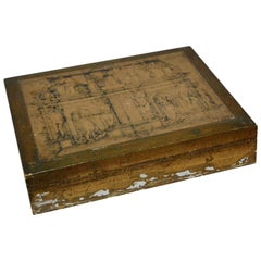 Italian Gilt Jewelry Box with Graphics Florentine Style