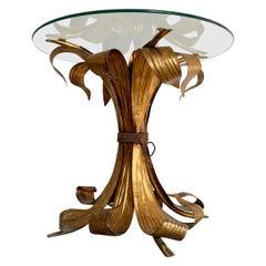 Italian Gilt Leaf Glass Side Table