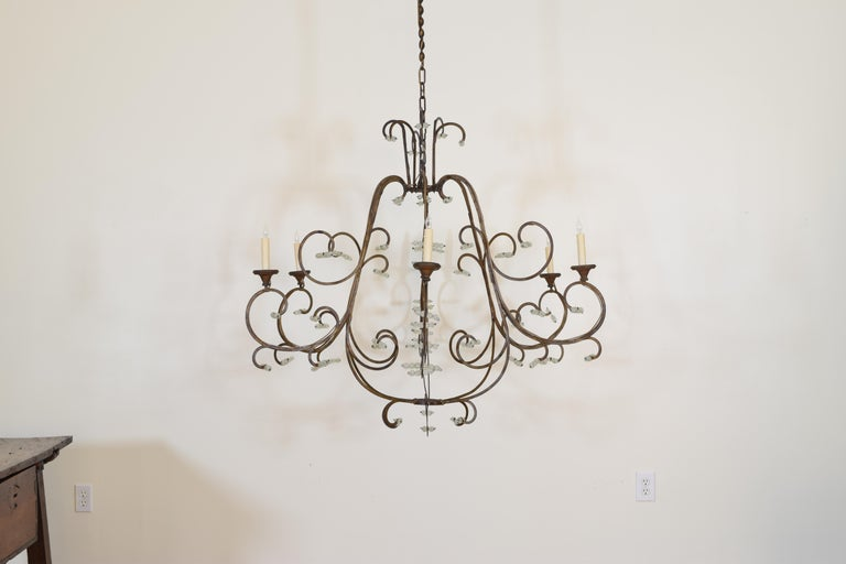 Neoclassical Italian Gilt Metal and Blown Glass Bead 6-Light Chandelier, 18th-19th Century For Sale