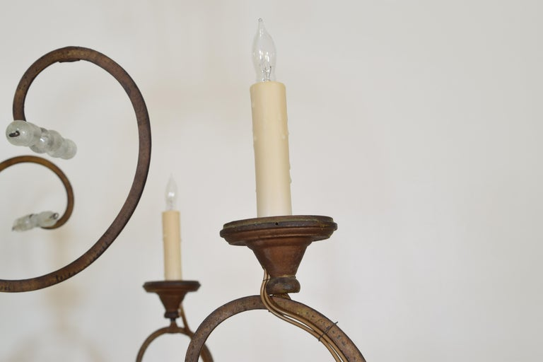 Italian Gilt Metal and Blown Glass Bead 6-Light Chandelier, 18th-19th Century For Sale 3