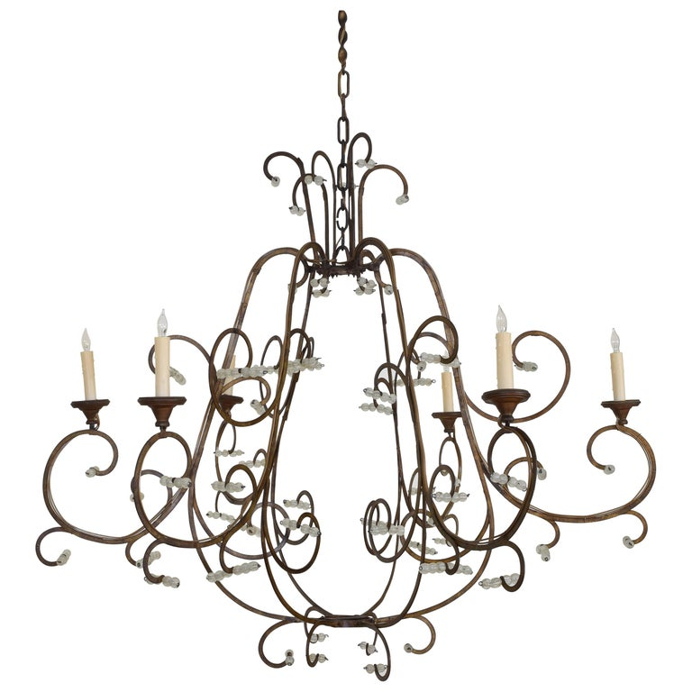 Italian Gilt Metal and Blown Glass Bead 6-Light Chandelier, 18th-19th Century For Sale