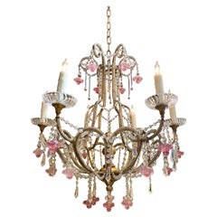 Italian Gilt Metal Beaded Crystal Chandelier with Pink Flowers