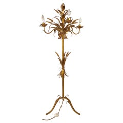 Italian, Gilt Metal,  Floor Lamp with Sheaf of Wheat Motive, 1960s, Candelabra