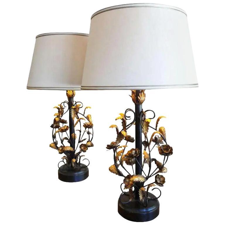 Italian Gilt Metal Floral Lamps