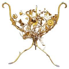 Italian Gilt Metal Floral Side Table