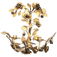 Italian Gilt Metal Floral Wall Sconce