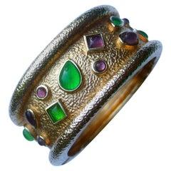 Italian Gilt Metal Jeweled Poured Glass Wide Hinged Cuff Bracelet c 1980s