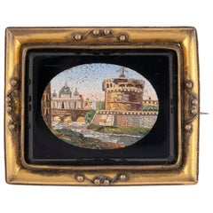 Italian Gilt-Metal Mounted Brooch Set with a Micromosaic Plaque Rome, circa 1830